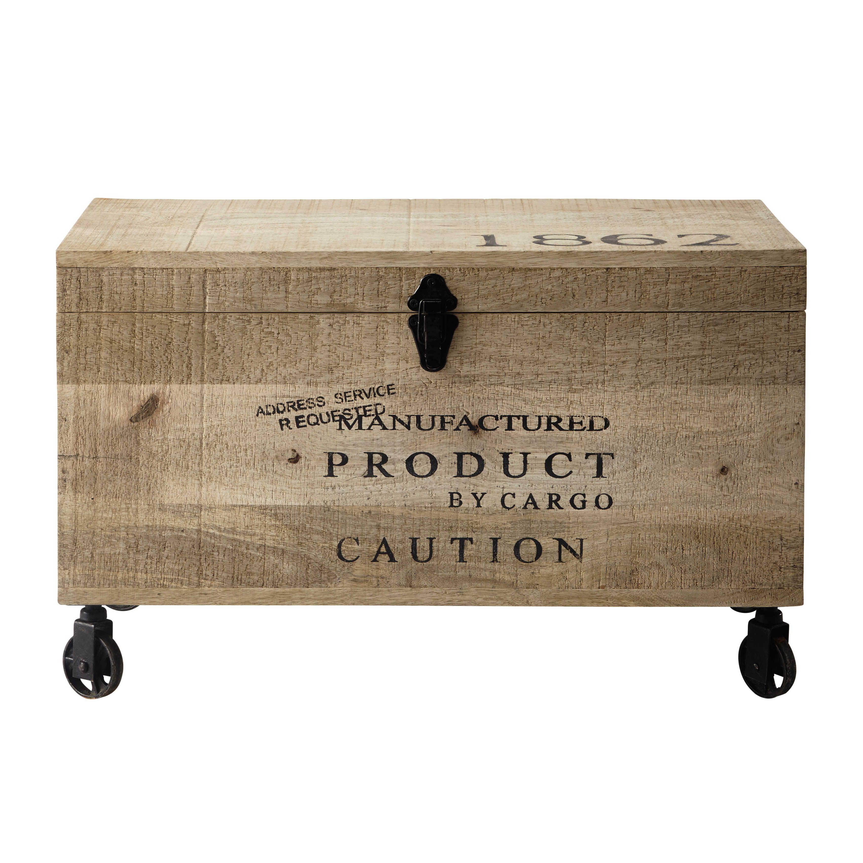 Malle Bar Maison Du Monde wooden trunk on castors w 70cm | wooden trunks, wooden chest
