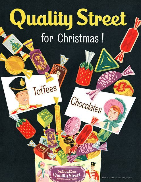 Vintage Quality street advertising poster reproduction. Delicious dillema