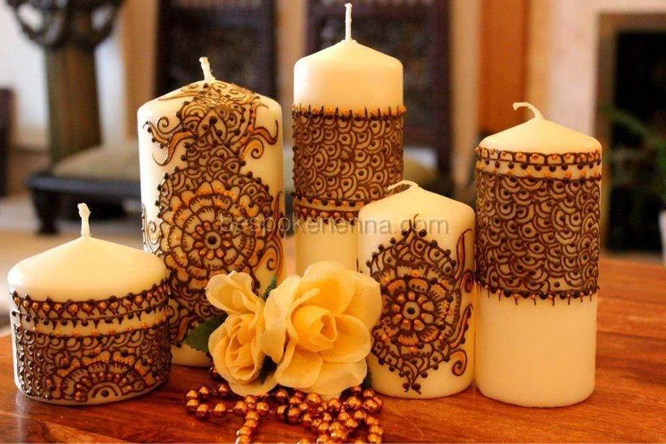 7 Elegant Decorate Candles With Paint Henna Candles Decoupage
