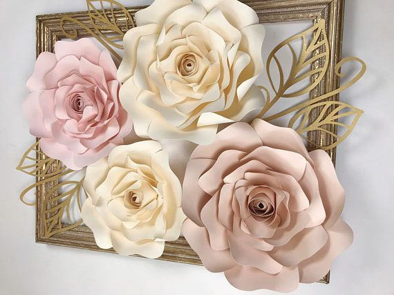 Large Paper flowers for nursery over crib decor, wedding reception decor, pink paper flower photo walls, Paper Flower wall backdrop #paperflowerswedding