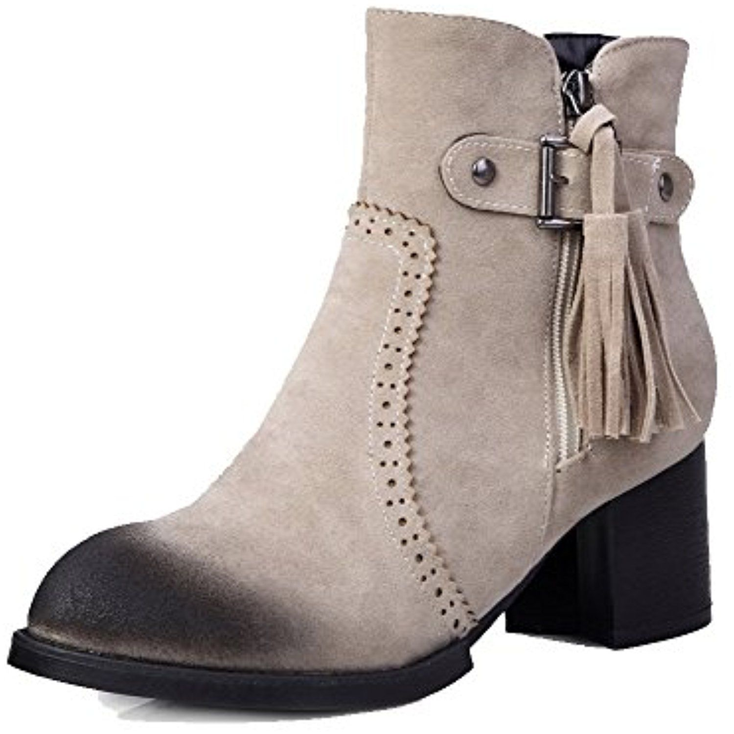 Women's Kitten-Heels Solid Round Closed Toe Frosted Zipper Boots