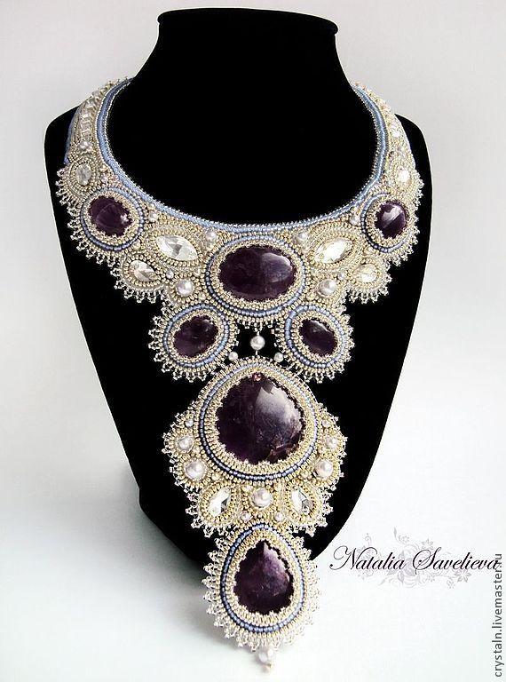 """Купить Колье """"Хрустальный сон"""" - серебряный, колье с камнями, шикарное украшение, авторская ручная работа"""