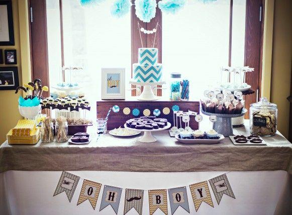 Chevron U0026 Mustache Dessert Table Via Sweetapolita. Baby Shower ...