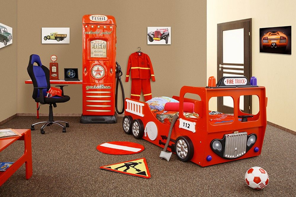 Lit camion de pompier rouge enfant sam avec clairage led Idee deco chambre garcon pompier
