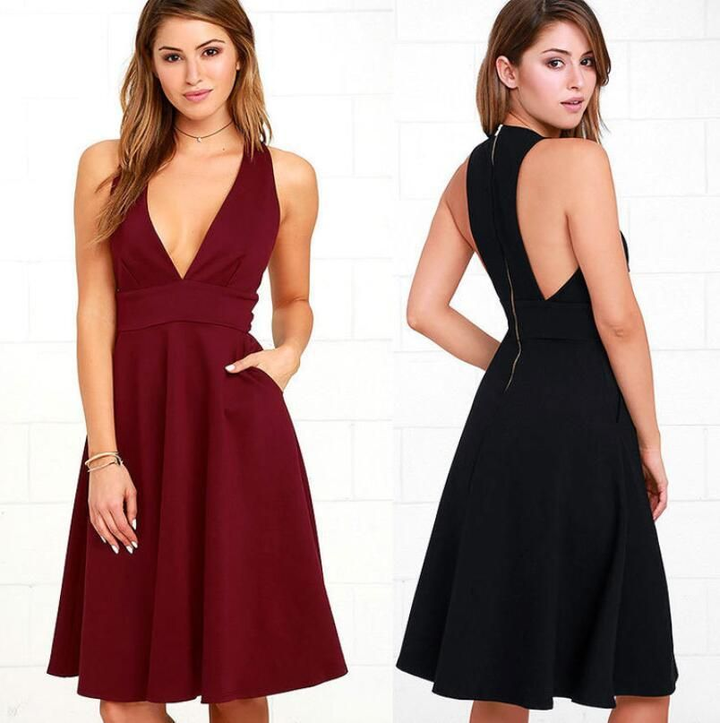 Sexy Women Summer V Neck Casual Sleeveless Party Evening Cocktail Mini Dress