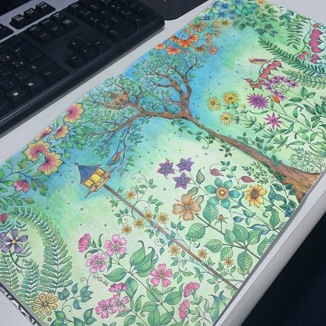 Flower Gardening Flowers Garden Coloring Books Adult Colouring Drawing Blue Creative Ideas
