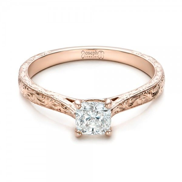 Custom Rose Gold Solitaire Diamond Engagement Ring