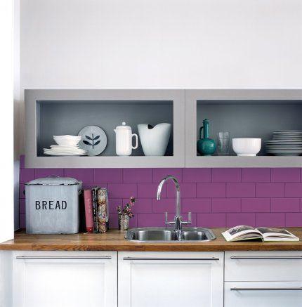 Purple Tiles Kitchen Splashback