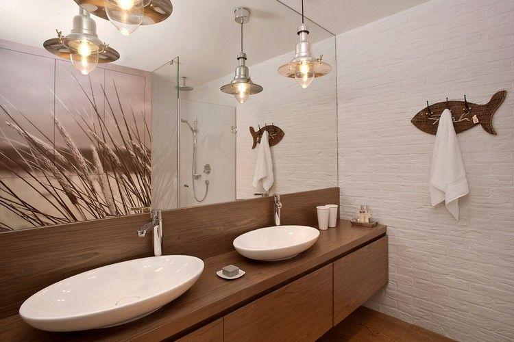 badezimmer-ideen-holz-waschtisch-spiegelwand-fototapete-graser, Wohnideen design