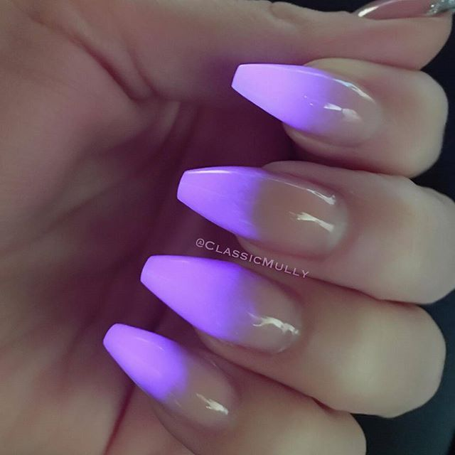 Glow In The Dark Purple Credit By Classicmully Glow Nails Ombre Nails Neon Nails