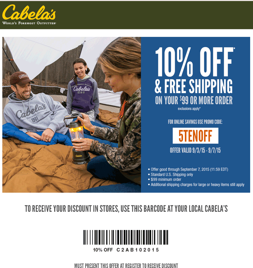 10 Off At Cabelas Or Online Via Promo Code 5tenoff Promo Codes Coding Coupon Apps