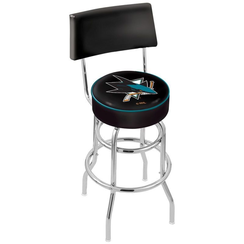 San Jose Sharks Chrome Double Ring Swivel Bar Stool with a Back