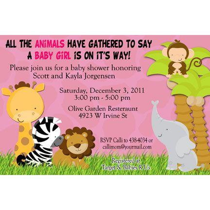 jungle safari baby shower invitations are so darling and so pink, Baby shower invitation