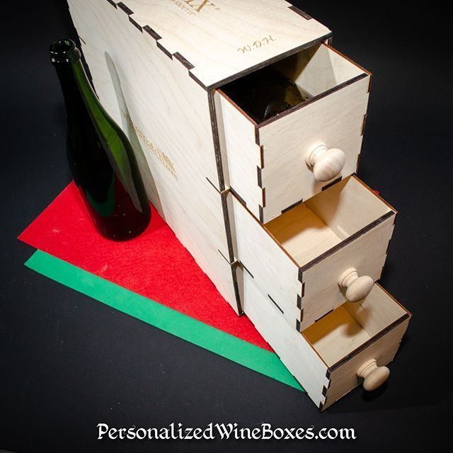 Wine Gift Box Deluxe Featuring Drawers Can Repurpose Horizontal Or
