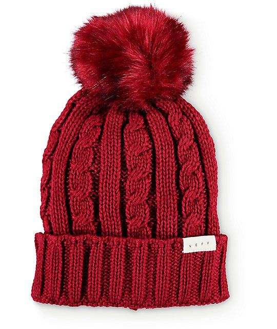 f0bc2003bd5 This cuffed style beanie is made with a thick cable knit construction  finished with a faux