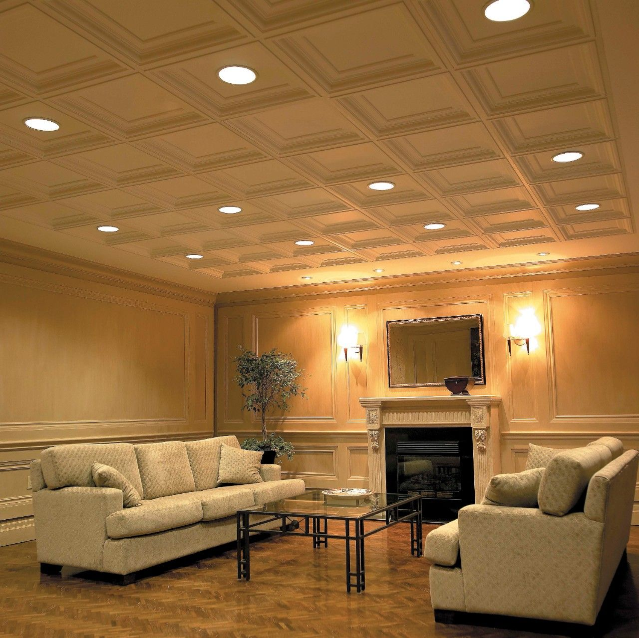Usg elegance coffered ceiling panels make achieving coffered innovative acoustic ceiling tiles kenmark inc lobby dailygadgetfo Images