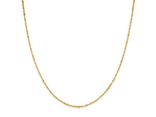 14k Yellow Gold 2mm Singapore Link 18 Inch Chain Necklace Min 3.0 Gram