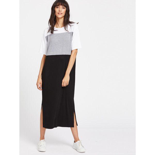 ef67d23221 SheIn(sheinside) Color Block Slit Side Tee Dress ($17) ❤ liked on Polyvore  featuring dresses, long slit dress, long tee shirt dress, t-shirt dresses,  ...