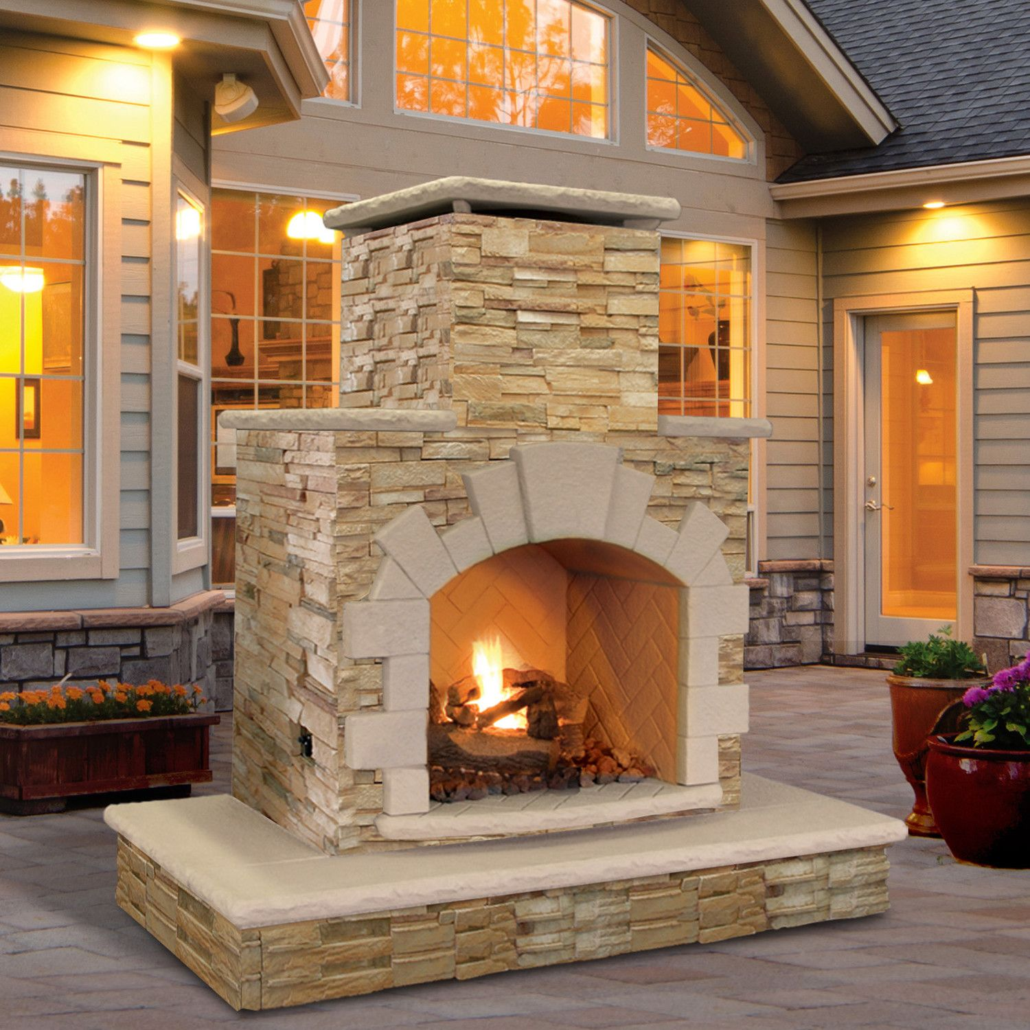 Home Decor Natural Stone Propane Gas Outdoor Fireplace Wayfair