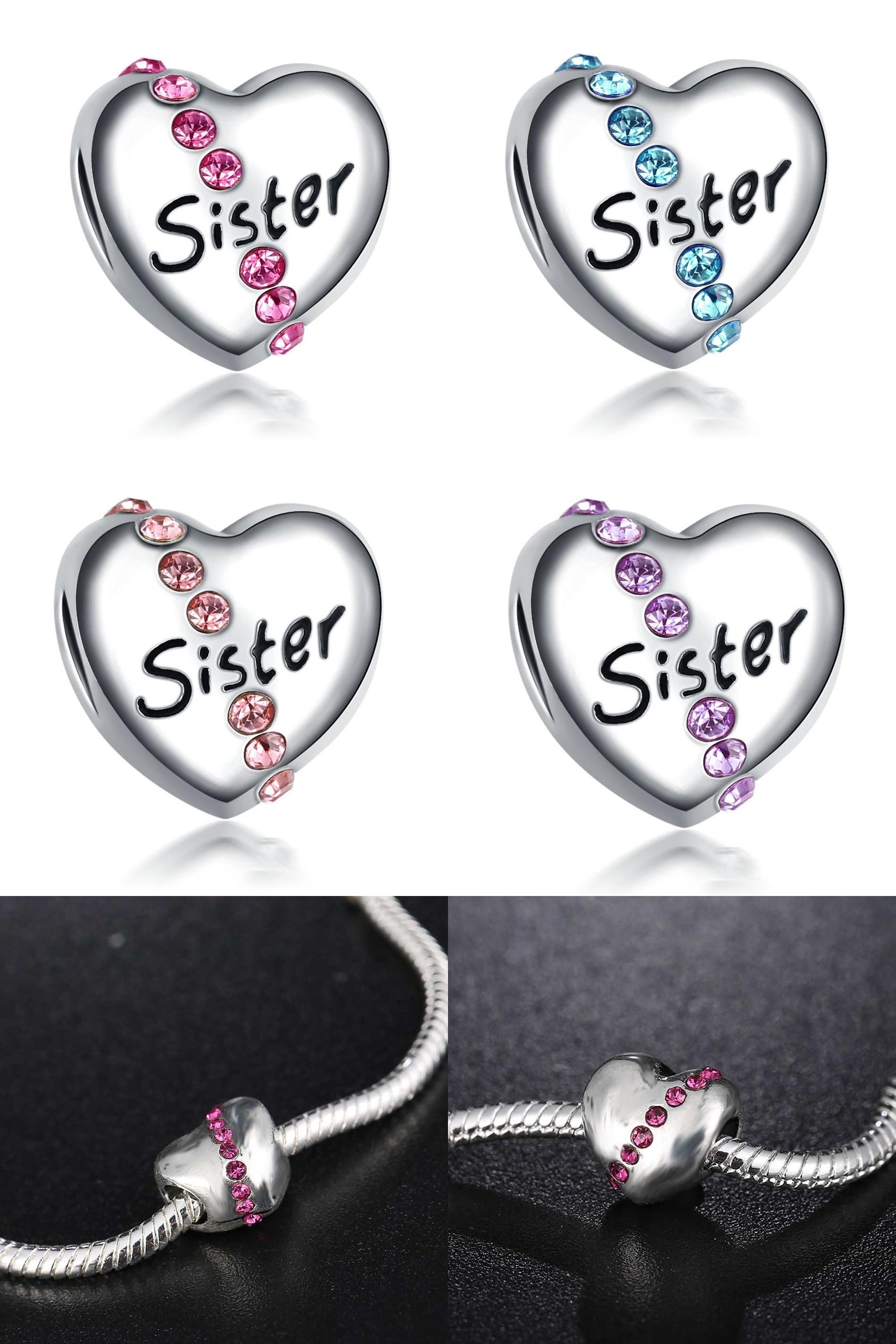 [Visit to Buy] New Silver Plated Bead Charm Cute Love Heart Sister With Crystal