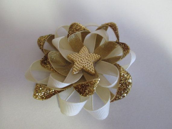 Pin Wheel Gold and Ivory Elegant Hair Bow Wedding by preciouscurls