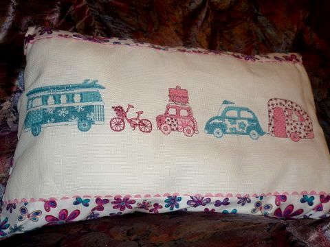 I love choosing fabric to match my cross stitch