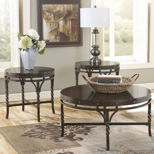 Ashley Furniture Brindleton Lacquer Occasional Table Set Of 3 Coffee Table Ashley Furniture Living Room Round Coffee Table Sets