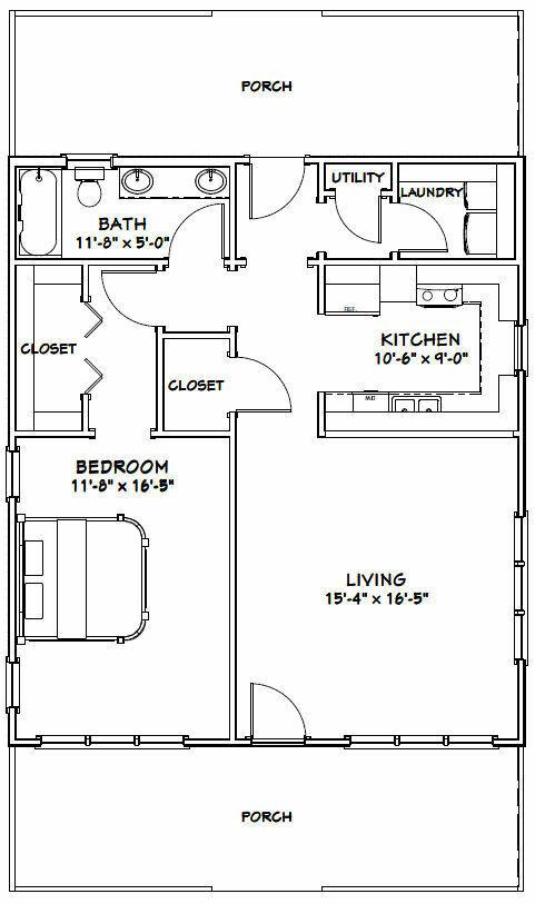 28x32 House Pdf Floor Plan 895 Sq Ft Model 1 1 Bedroom House Plans Bedroom House Plans Cabin Floor Plans