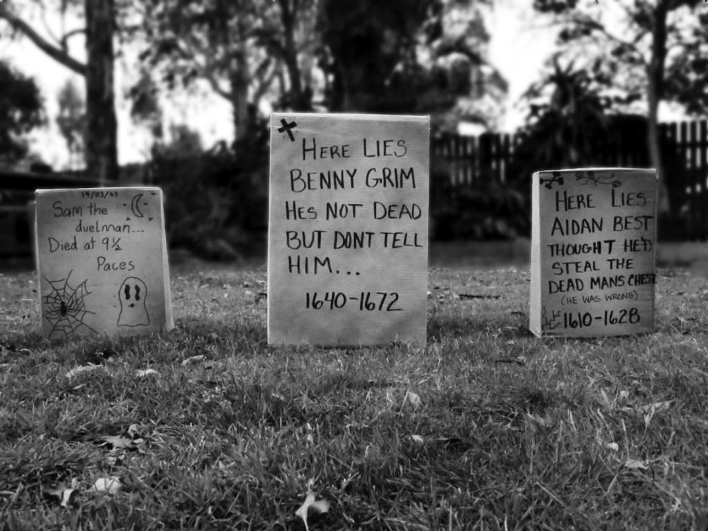 funny halloween tombstones | made these tombstones with the kids for
