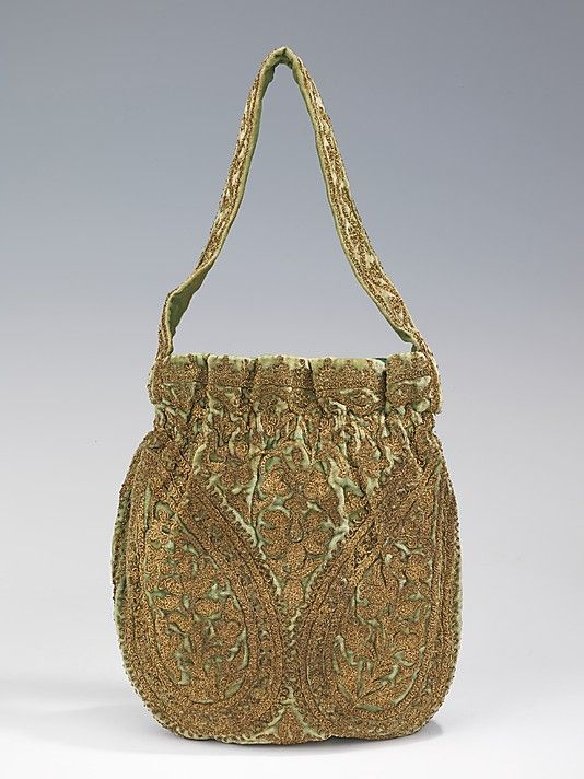 Evening bag  House of Lanvin  (French, founded 1889)    Designer:      Jeanne Lanvin (French, 1867–1946)  Date:      1925–35  Culture:      French  Medium:      silk, metal Silk, metallic  Dimensions:      14 in. (35.6 cm)