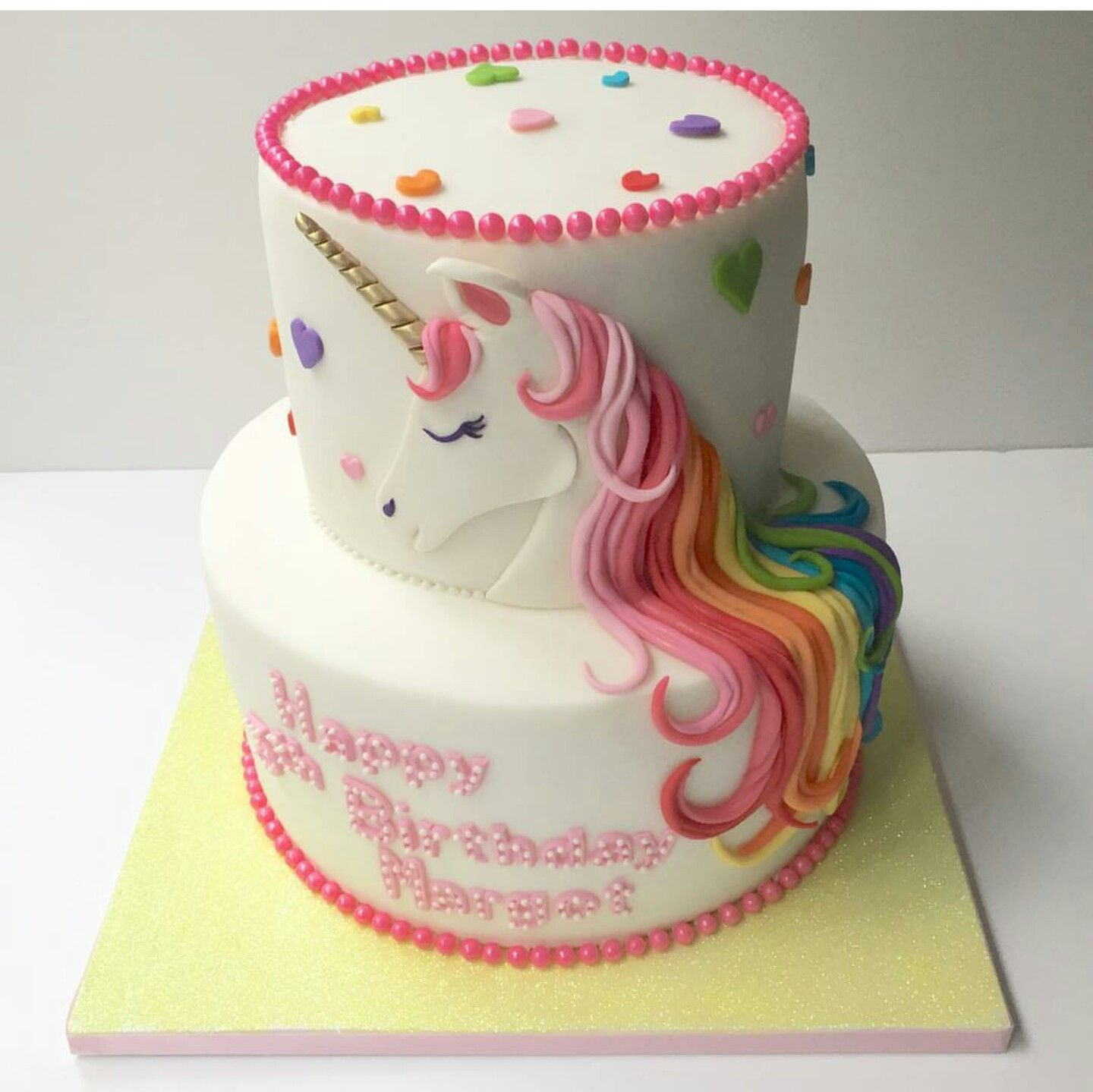 Rainbow Hair Hearts And A Sweetie Border Finish This Unicorn Off In Style