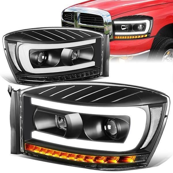 06 09 Dodge Ram 1500 2500 3500 Led Drl Sequential Turn Signal Projector Headlights Black Projector Headlights Headlights Dodge Ram