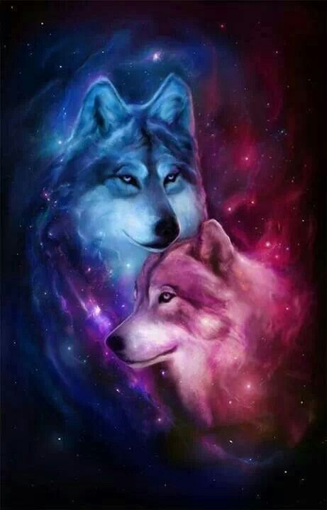 Awesome Wolves Picture On A Stellar Background Wolf Artwork Wolf Painting Wolf Wallpaper Awesome anime wolves wallpaper