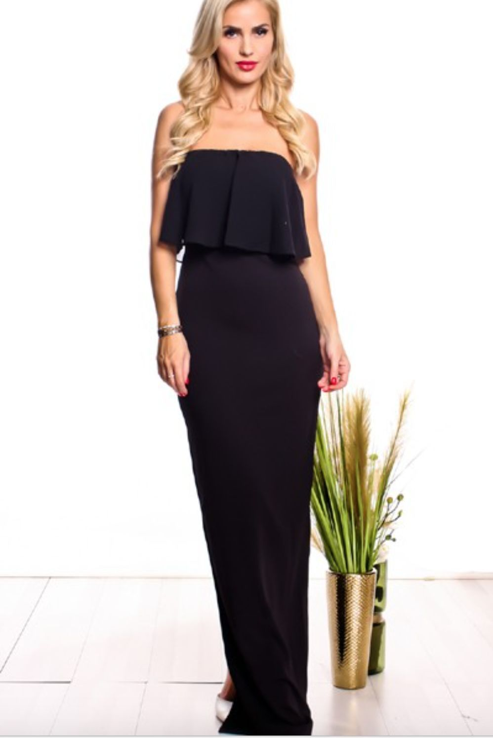 Glam maxi dress maxi dresses bandeau top and ruffles