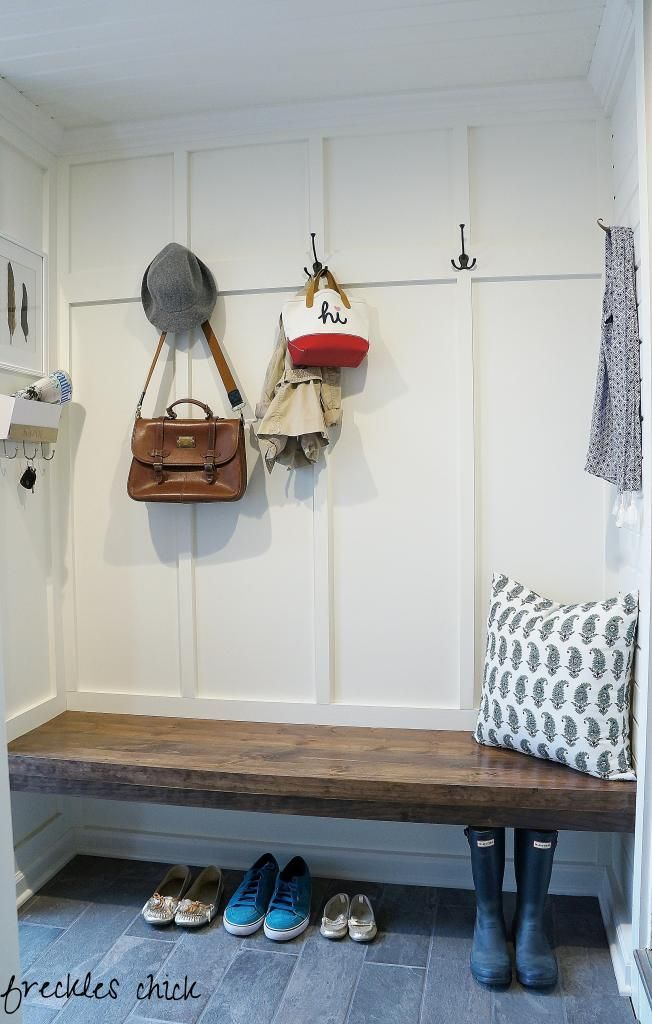 Mini Mudroom Finally Finished Benjamin Moore White Dove Floating Bench Board Batten Plank Ceiling Walls Concealed Storage Gray Grey Floor