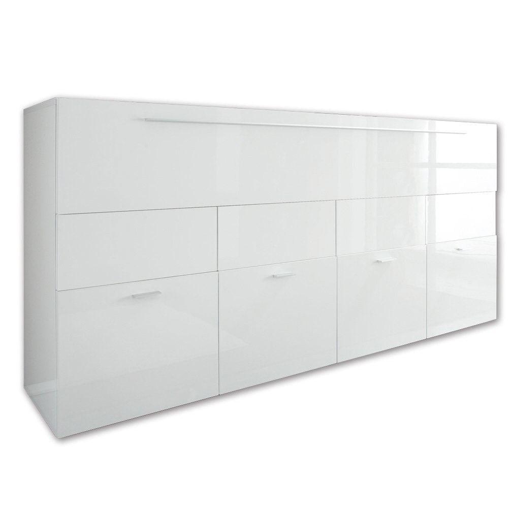 Sideboard LINE weiß Hochglanz 161 cm breit 42 cm tief