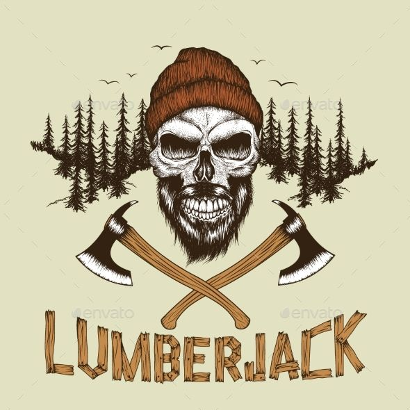 Buy skull lumberjack with beard by krasavec on graphicriver skull lumberjack with beardhat and two axes at the forest background