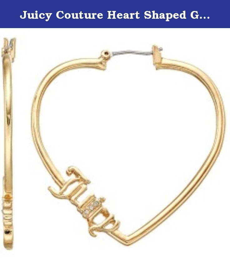"Juicy Couture Heart Shaped Gold Tone Hoop Style Earrings. Offered is a beautiful pair of Juicy Couture hoop earrings measuring 1 1/2"" long and 1 5/8"" wide. They have the ""Juicy"" script signature with three tiny clear crystals on each. Lightweight."