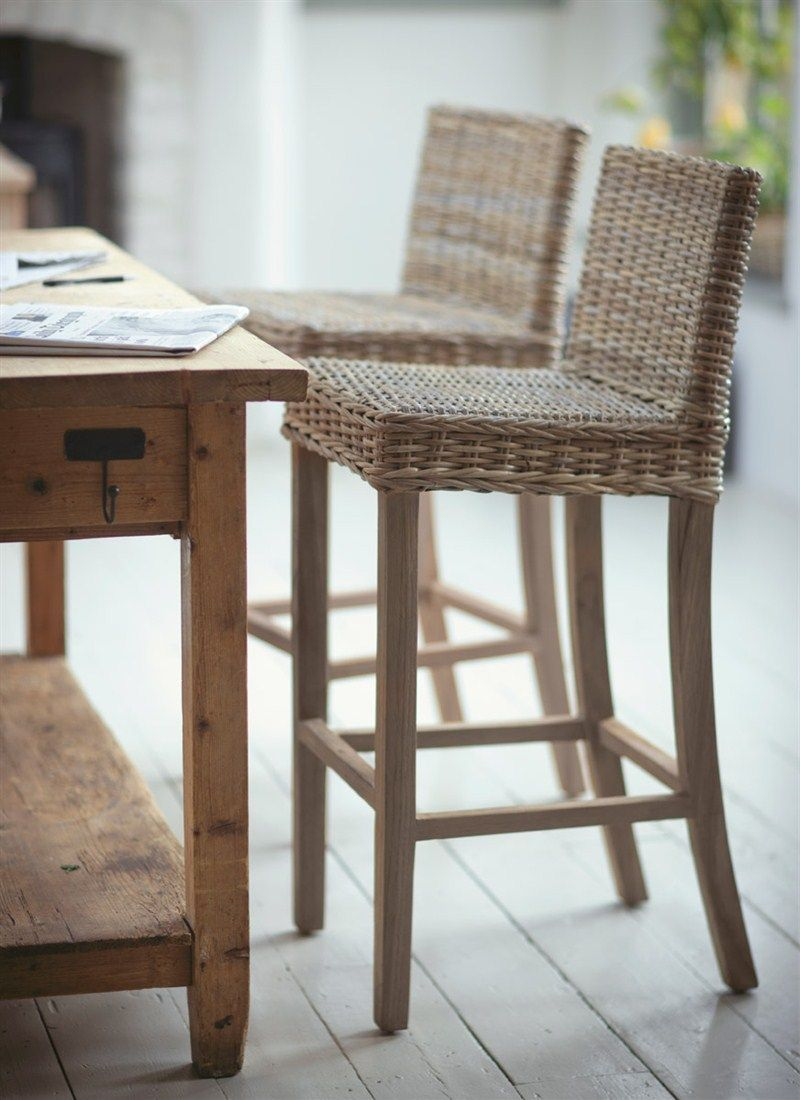 A Stylish And Robust Tall Teak Framed Bar Stool With Natural Rattan Seat They Are