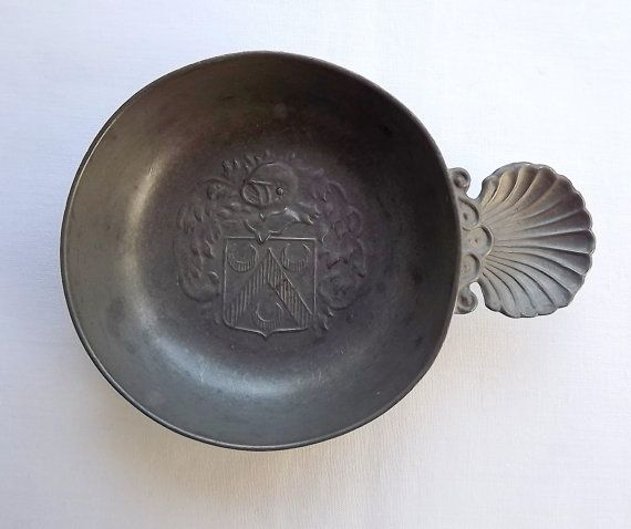 Pewter tastevin trinket dish with coat of arms and by MaisonMaudie