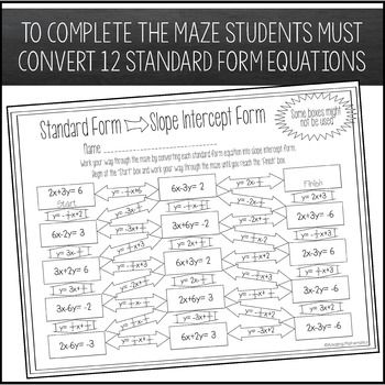 Converting Standard Form To Slope Intercept Form Maze Standard