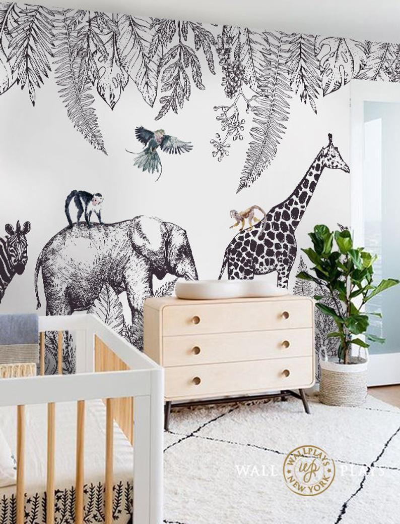 Safari Peel And Stick Wallpaper Mural Sold As Per Sheet Etsy In 2021 Safari Mural Peel And Stick Wallpaper Mural Wallpaper