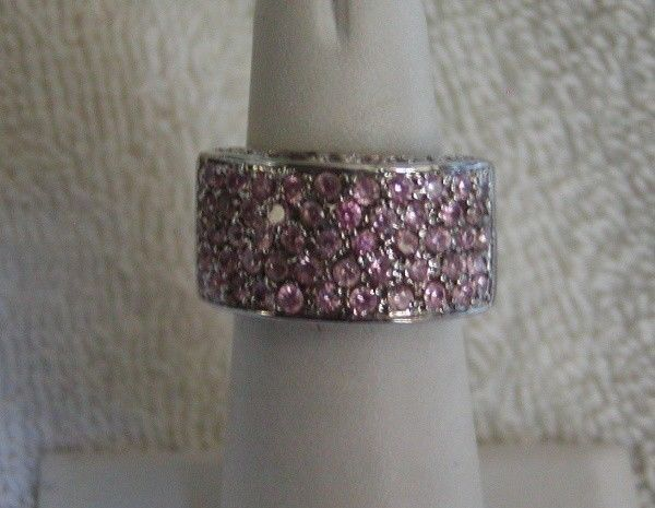 STUNNING Designer CN Sterling Silver Pave Pink Crystal Ring Size 7 #Jewelry #Deal #Fashion