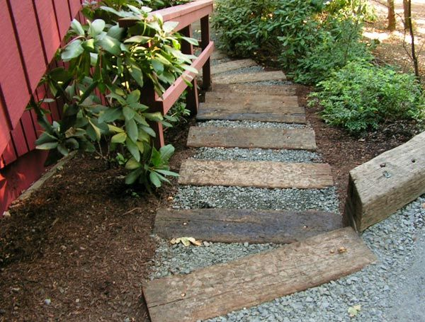 Landscaping Ties Nanaimo : Landscape stairs railroad ties landscaping ideas backyard