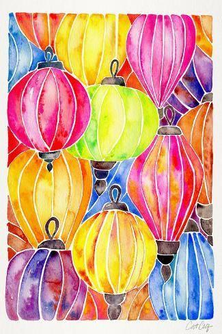 Watercolour Lanterns Watercolor Colourful Print Wall Decor Poster wall Art Digital Print Wall Art Vietnam Wall Print Vietnam print