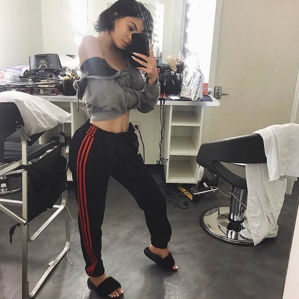fd5c524e139 Black and red Adidas track pants !!! Youth XL Tags   Kylie Jenner adidas  puma fila champion kappa - Depop