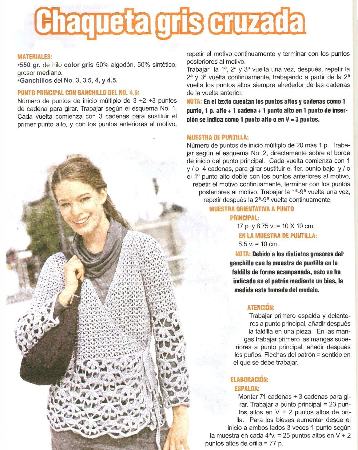 Chaqueta gris cruzada crochet tutorial | Ganchillo patrones ...