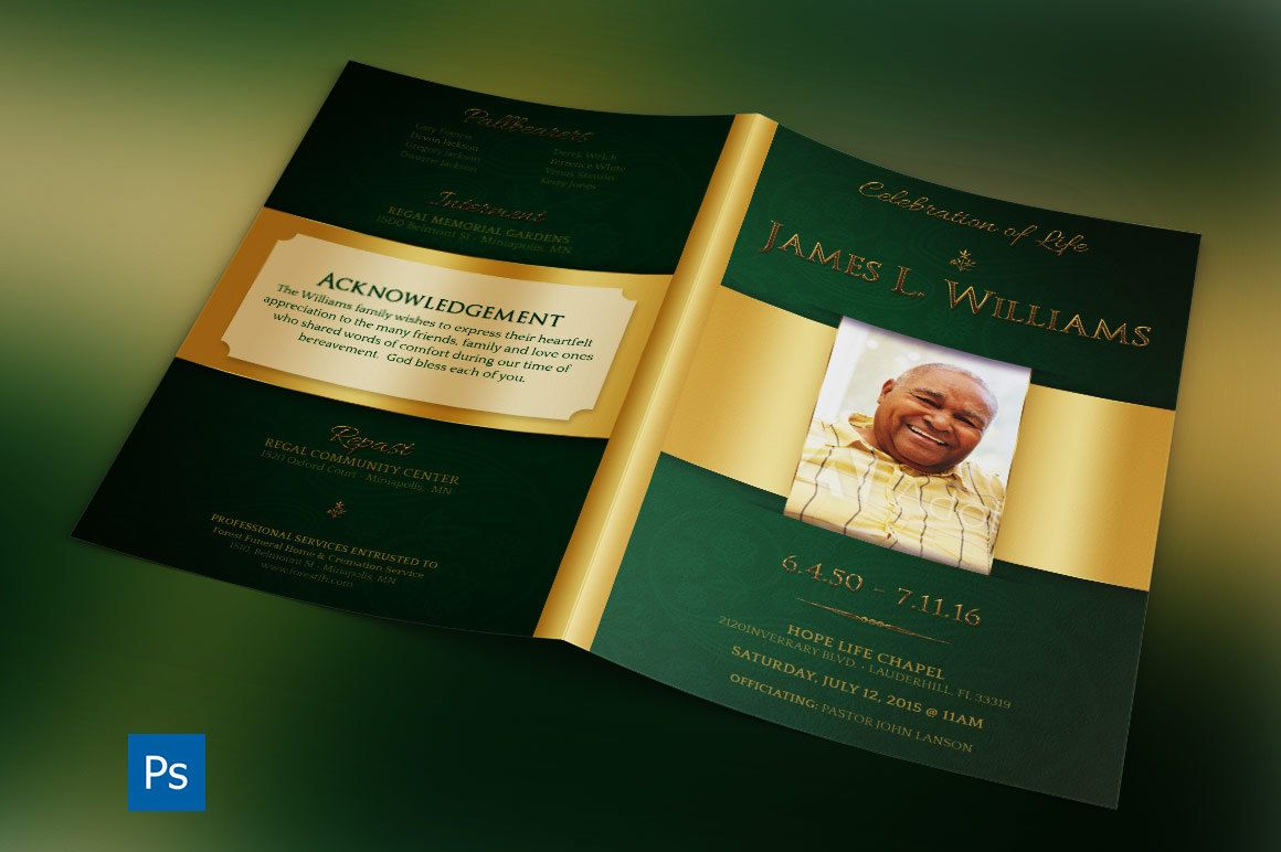 Green Regal Funeral Program Photoshop Template