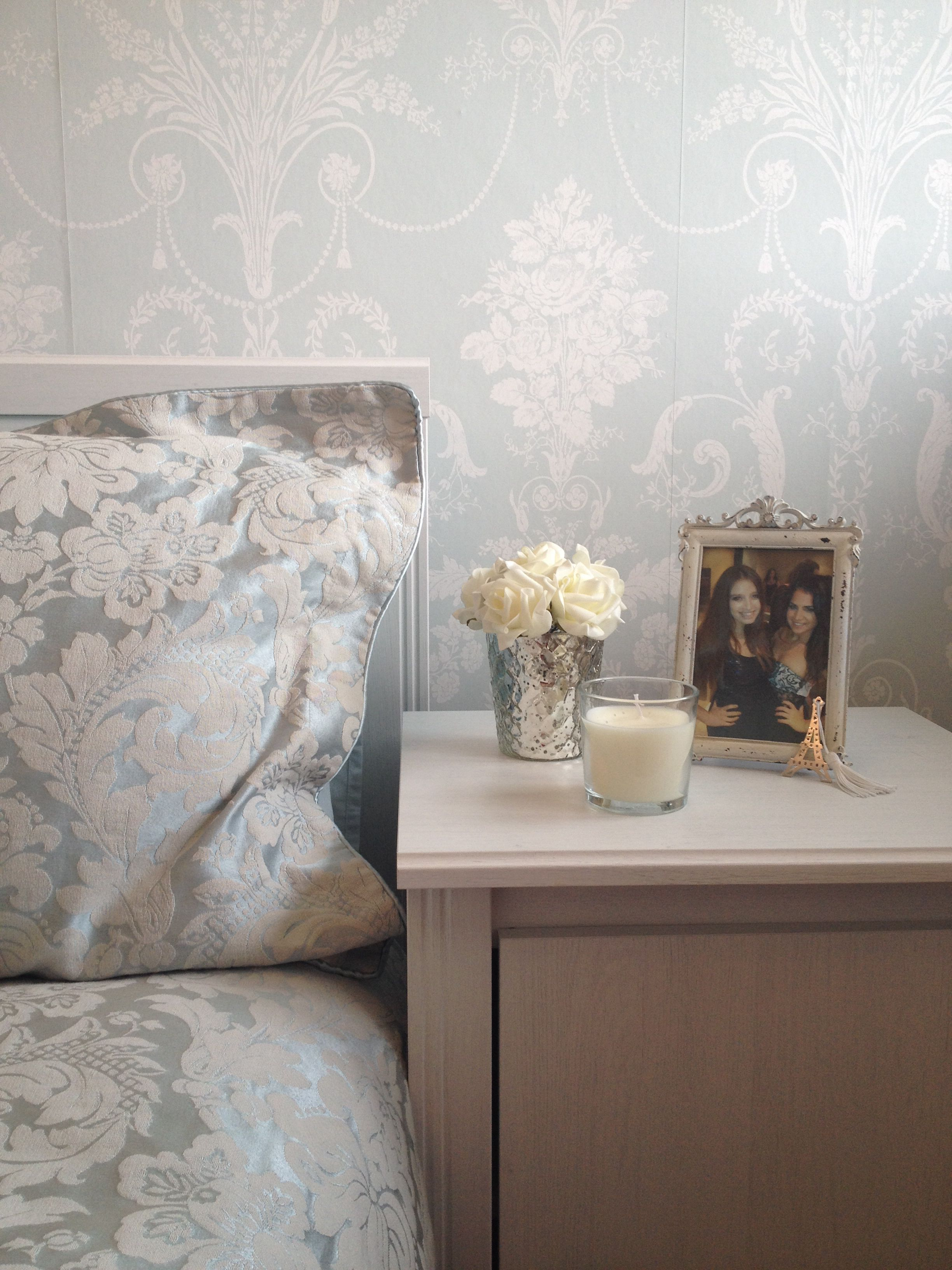 Duck egg bedside table feature wall damask laura ashley for Bedroom inspiration duck egg blue