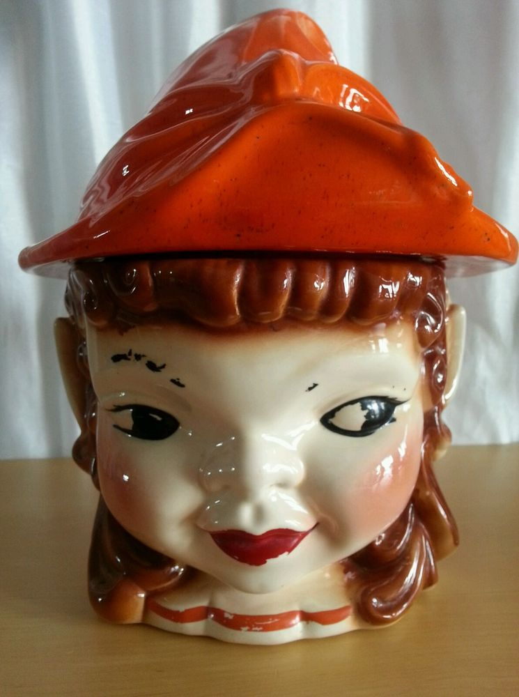 1950'S Cookie Jars Unique Vintage PIXIE ELF COOKIE JAR 60's Girl CALIFORNIA ORIGINALS